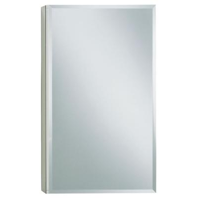 15 in. W x 26 in. H Single Door Recessed or Surface Mount Medicine Cabinet in Adonized Aluminum