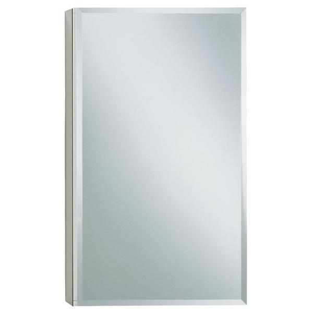 15 in. W x 26 in. H Single Door Recessed or Surface Mount Medicine Cabinet in Adonized Aluminum