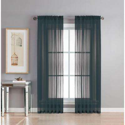 Sheer Diamond Sheer Voile Extra Wide 84 in. L Rod Pocket Curtain Panel Pair, Black (Set of 2)