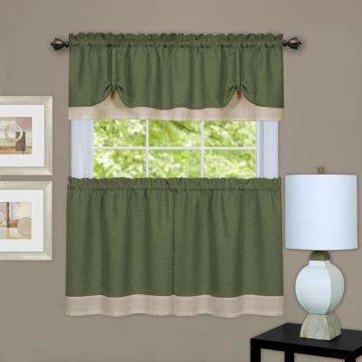 Darcy Polyester Tier and Valance Curtain Set in Green/Camel - 58 in. W x 36 in. L