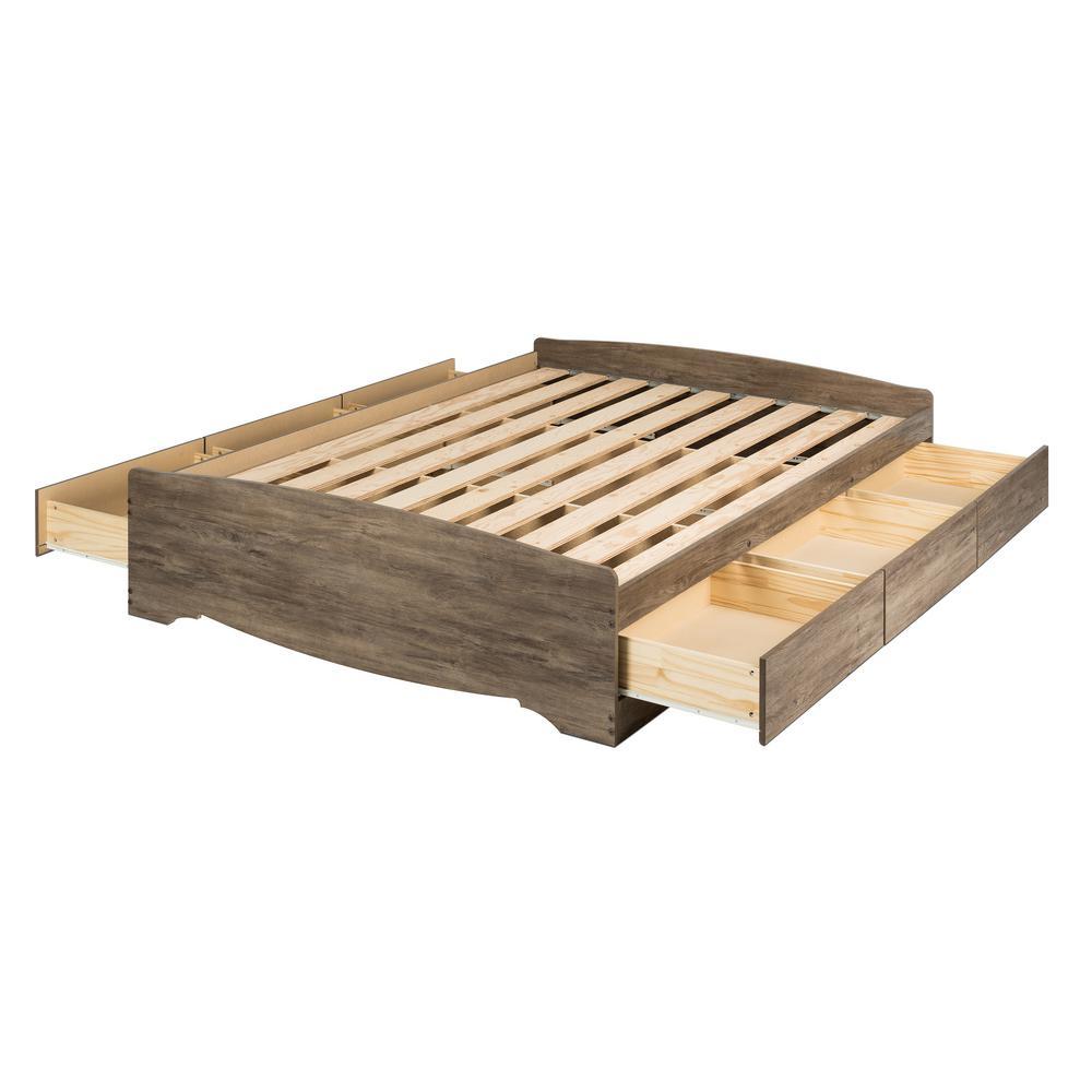 Prepac Mate S Drifted Gray Queen, Platform Beds With Storage Queen Size Mattress