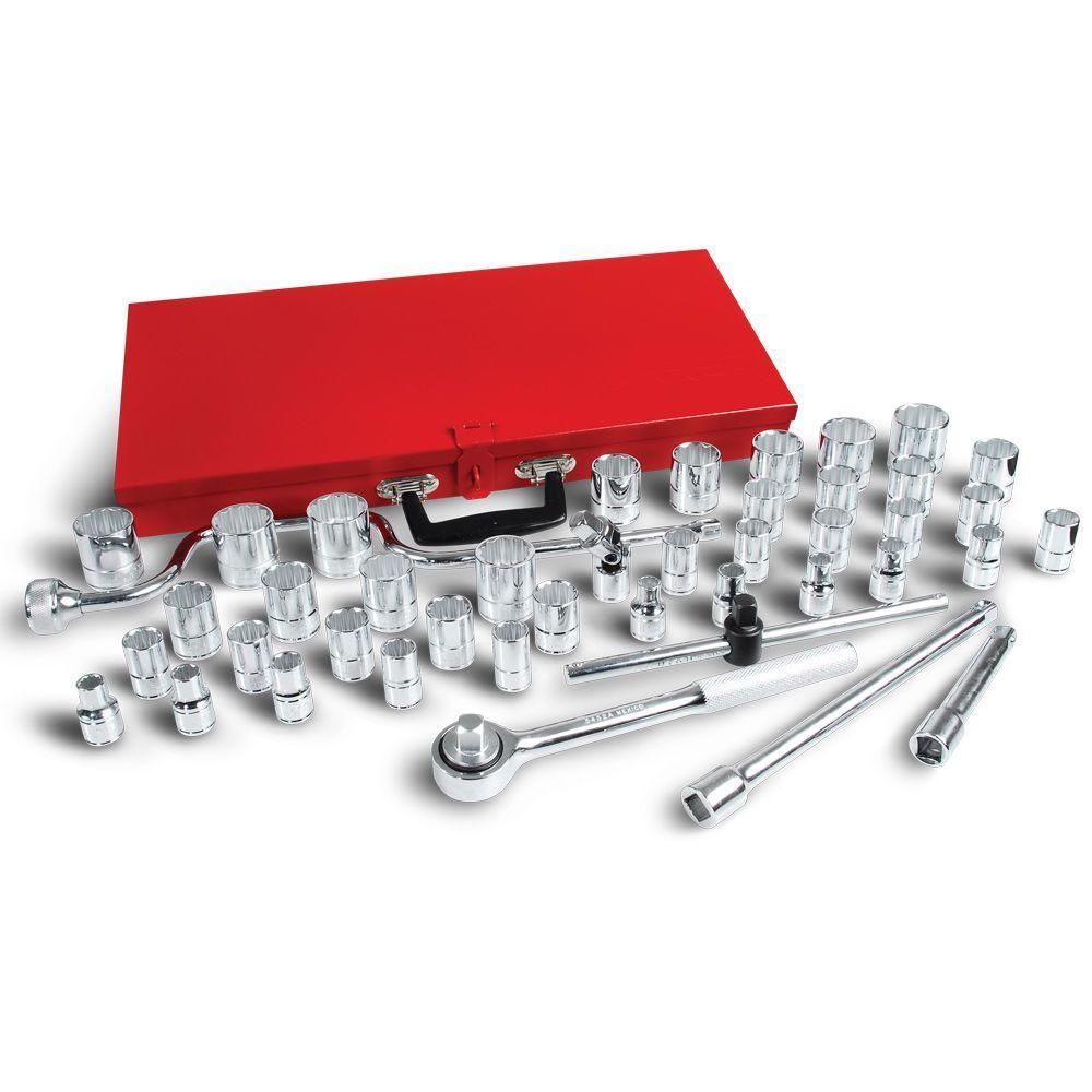 1/2 in. Drive 12-Point Standard & Metric Hand Socket Set (44-Piece)