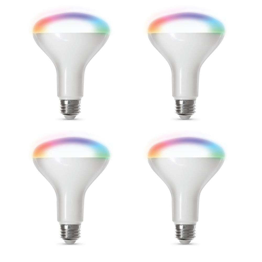 Feit Electric 65-Watt Equivalent BR30 Dimmable Full Color Changing Smart  Wi-Fi LED Light Bulb (4-Pack)