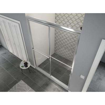 Newport 54 in. to 55.625 in. x 70 in. Framed Sliding Shower Door with Towel Bar in Chrome and Clear Glass
