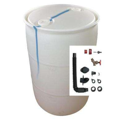 DIY Rain Barrel Bundle with Diverter System 55 gallon Blemished Natural White Plastic Drum