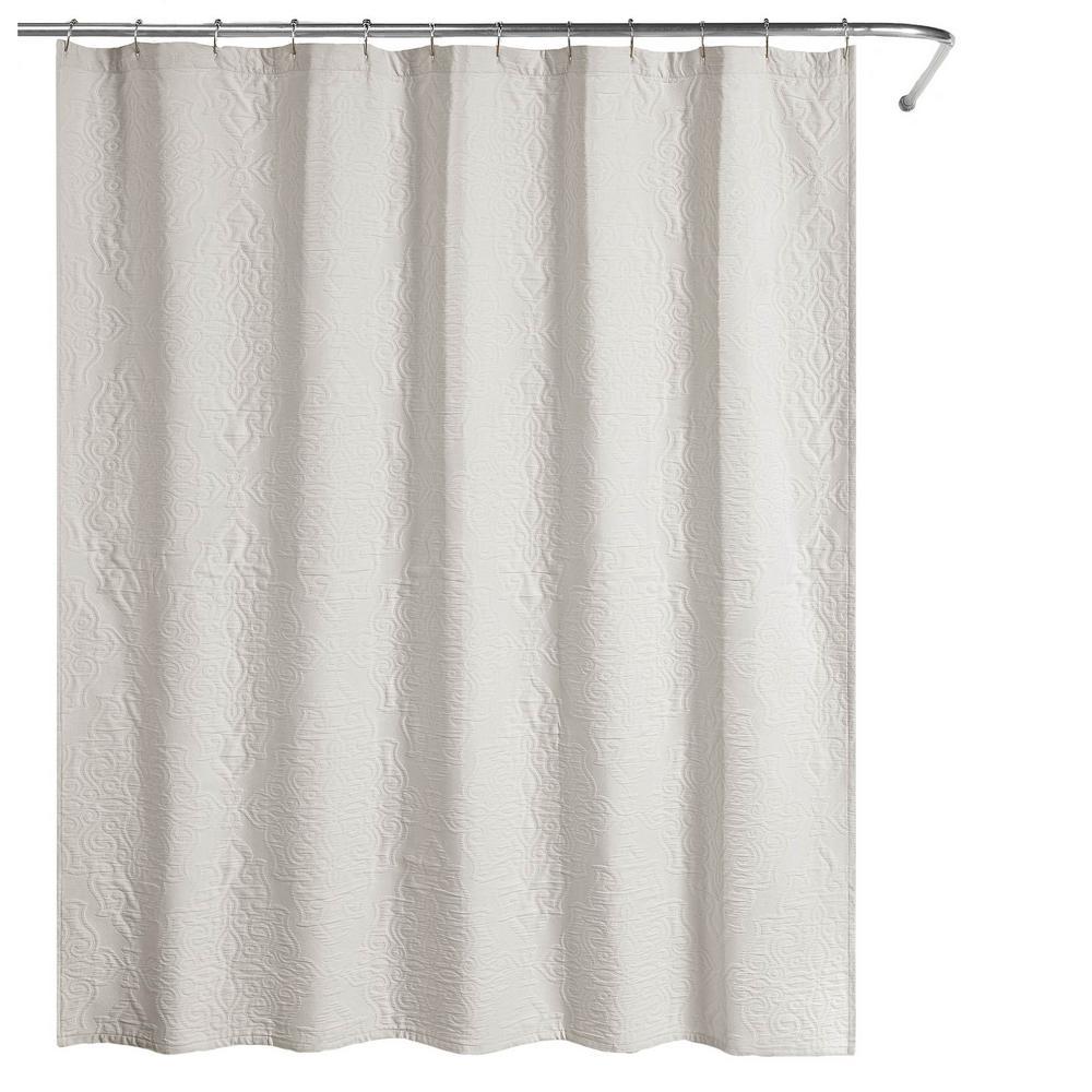 Raphaela European Matelassé 72 in. Shower Curtain Soft Gray