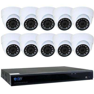 16-Channel HD-Coaxial 5MP Security Surveillance System 10-Cameras with Microphone 3.6 mm/M12 Lens and 4TB HDD