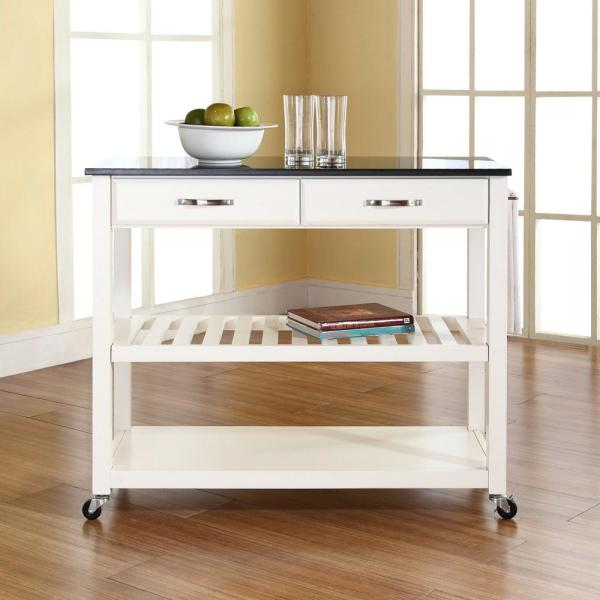 Crosley White Kitchen Cart With Black Granite Top KF30054WH