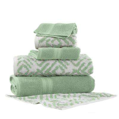 Ikat Diamond 6-Piece Cotton Bath Towel Set in Sage