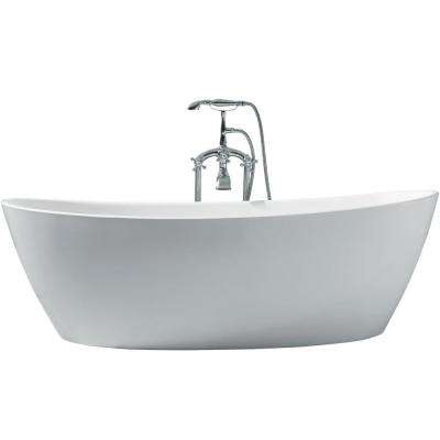 70 in. Acrylic Center Drain Oval Flat Bottom Freestanding Bathtub in White