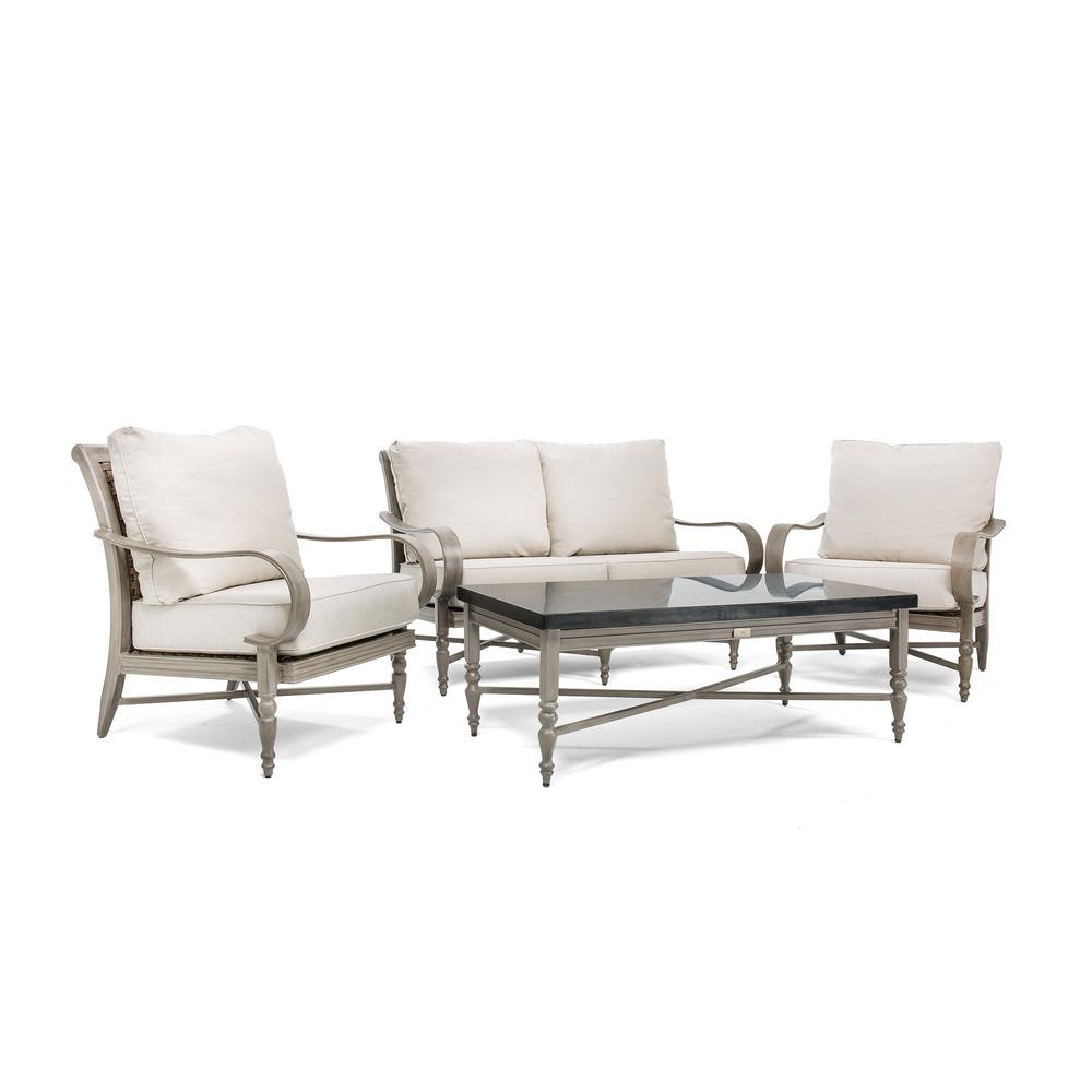 Saylor Wicker 4 Piece Outdoor Loveseat Seating Set With Outdura Remy Sand