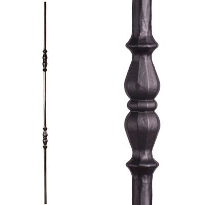 Tuscan Round Hammered 44 in. x 0.5625 in. Satin Black Double Knuckle Solid Wrought Iron Baluster