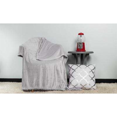 Oria Grey Pom Pom Throw