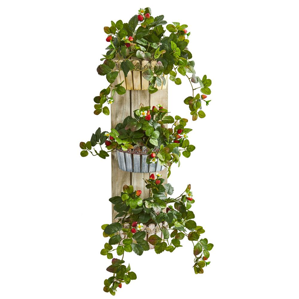 3 Tier Strawberry Planter: Nearly Natural 39 In. Indoor Strawberry Artificial Plant