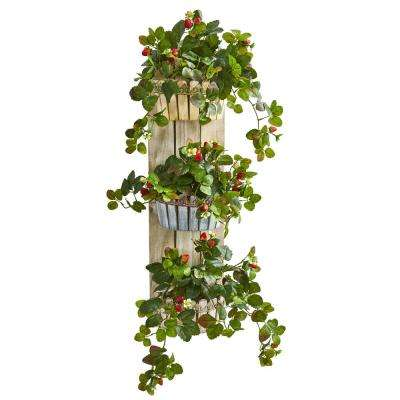 39 in. Indoor Strawberry Artificial Plant in 3-Tiered Wall Decor Planter
