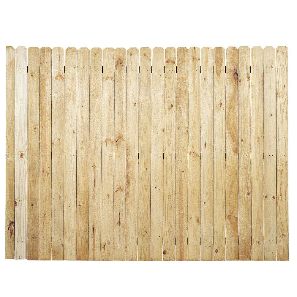 6 ft. x 8 ft. Pressure-Treated Pine Dog-Ear Stockade Fence Panel