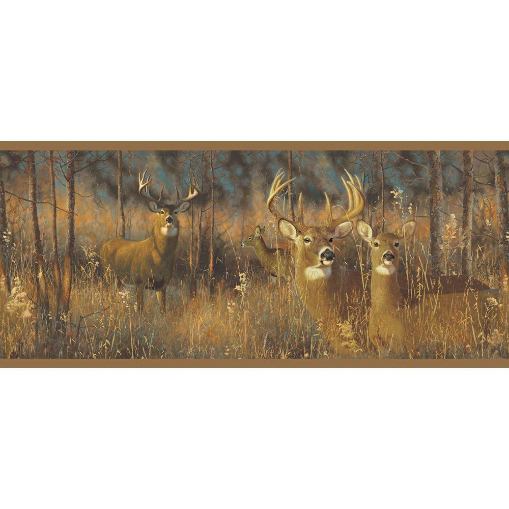 Lake Forest Lodge White Tail Deer Wallpaper Border