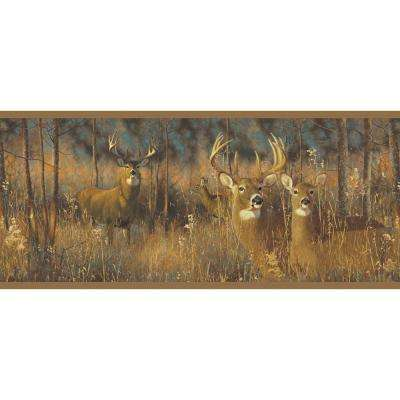 Lake Forest Lodge White Tail Deer Wallpaper Border