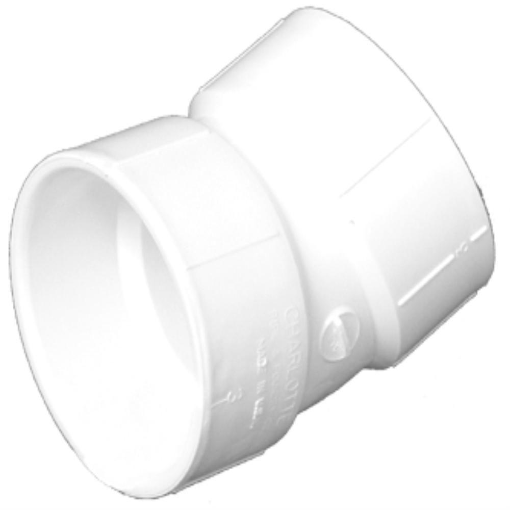 Charlotte Pipe 8 in. PVC DWV 22-1/2-Degree Hub x Hub Elbow