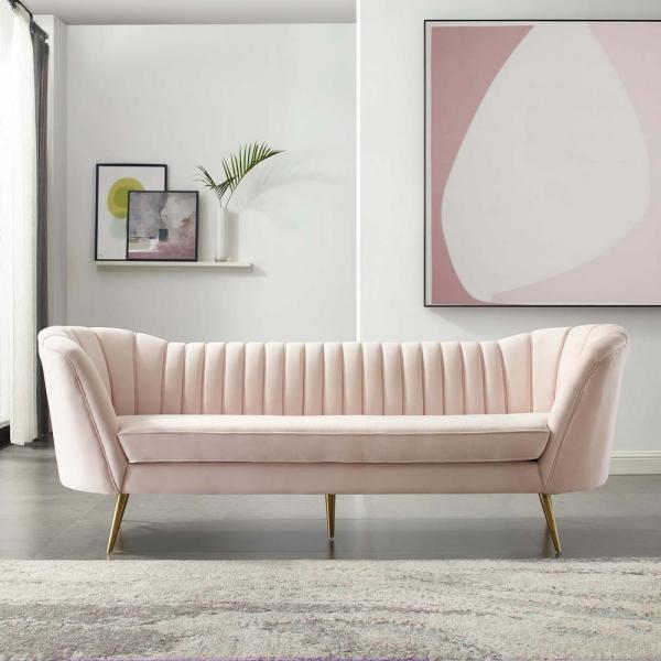 MODWAY Opportunity Pink Vertical Channel Tufted Curved
