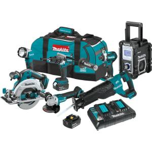 Makita 18-Volt LXT Brushless 7 Pc. Kit (Hammer Driver-Drill, Impact Driver, Recipro Saw, Circ Saw, Grinder,... by Makita