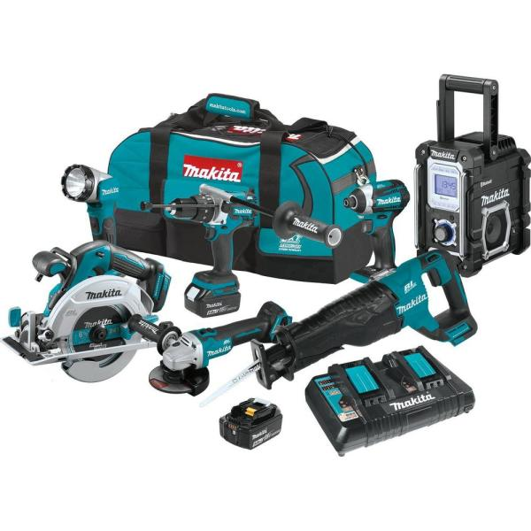 18-Volt LXT Brushless 7-Piece Kit Hammer Driver-Drill, Impact Driver, Recipro Saw, Circ Saw, Grinder, Radio, Light 5.0Ah