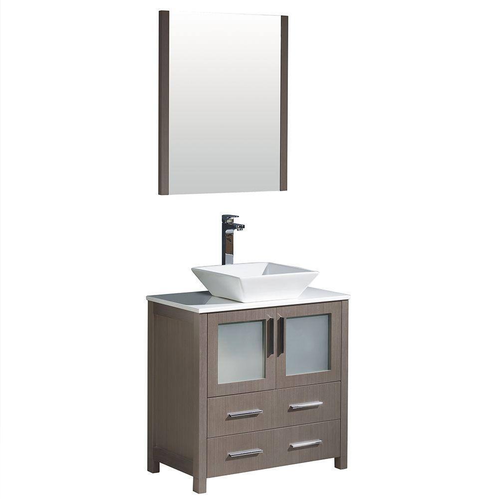 Torino 30 in. Vanity in Gray Oak with Glass Stone Vanity