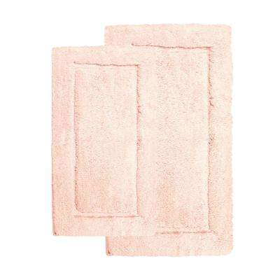 Microfiber Spa Blush 23 in. x 39 in. 2-Piece Bath Rug Set