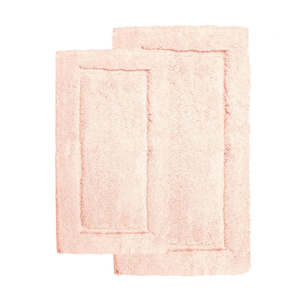 Microfiber Spa Blush 23 in. x 39 in. 2-Piece Bath Rug Set