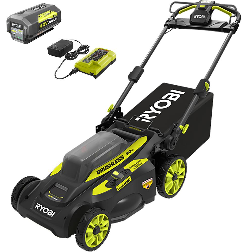 RYOBI 20 in. 40-Volt Brushless Lithium-Ion Cordless Self-Propelled Walk Behind Mower with 6.0 Ah Battery/Charger Included