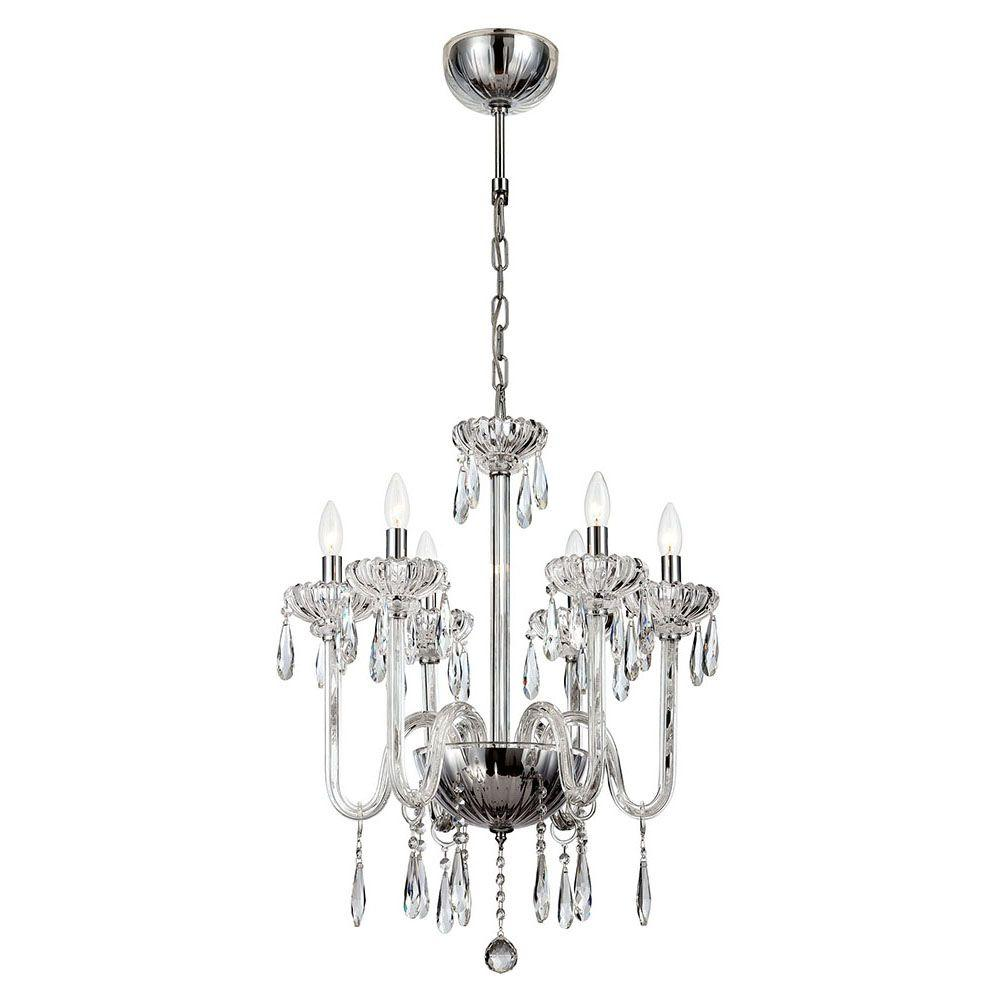 Hampton Bay Maria Theresa 6 Light Chrome And Clear Acrylic Chandelier C873ch06 The Home Depot