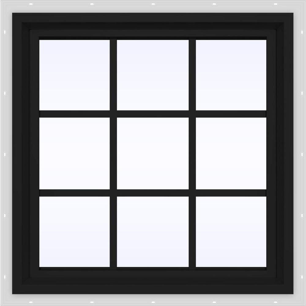 JELD-WEN 24 in. x 36 in. V-4500 Series Bronze FiniShield Vinyl Fixed Picture Window with Colonial Grids/Grilles