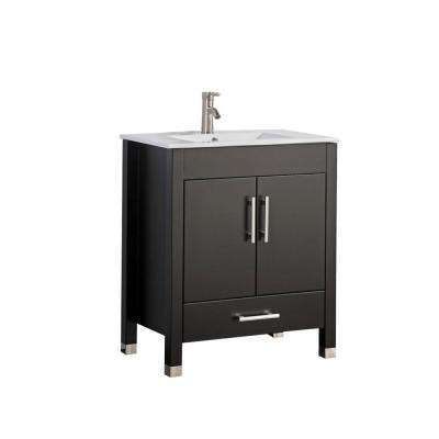 Monaco 36 in. W x 18 in. D x 36 in. H Vanity in Espresso with Porcelain Vanity Top in White with White Basin and Mirror
