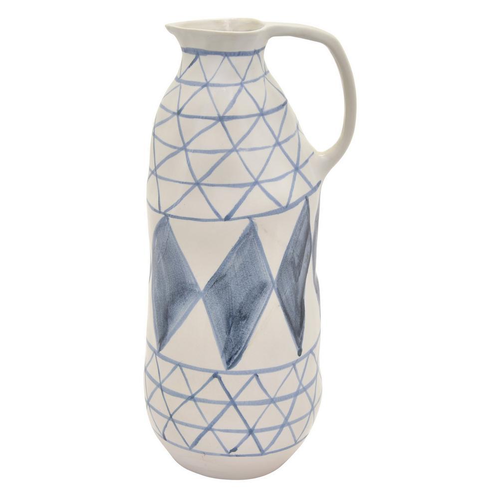 13.75 in. Blue Ceramic Vase