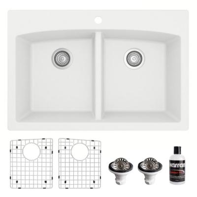 QT-710 Top Mount Quartz Composite 33 in. Double Bowl Drop-In 50/50 Kitchen Sink with Grids & Basket Strainers in White