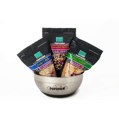 8 Qt. 4-Piece Popcorn & Serving Bowl Set with 6-lb. Gourmet Popcorn Kernels