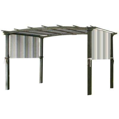 Universal Replacement Canopy Top Cover in Stripe Stone for Metal Pergola Frame
