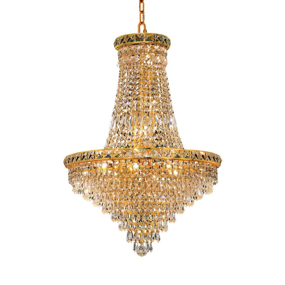 Elegant Lighting 22-Light Gold Chandelier with Clear Crystal