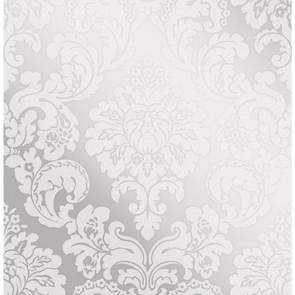 Advantage Margot Silver Damask Wallpaper