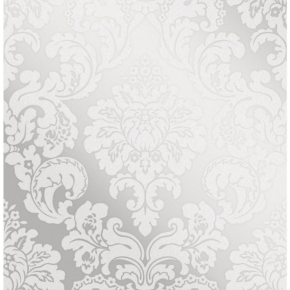 Advantage Margot Silver Damask Wallpaper Sample