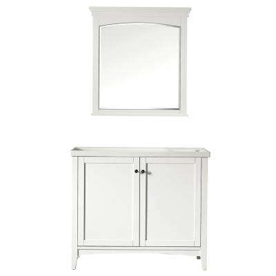 Asti 40 in. W x 18 in. D x 33 in. H Single Basin Vanity in White with Ceramic Vanity Top in White with Mirror