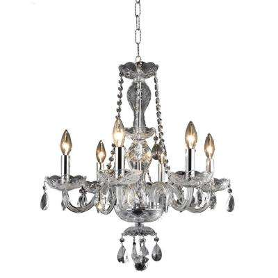 6-Light Chrome Chandelier with Clear Crystal