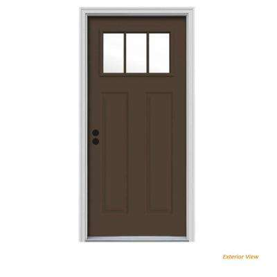 34 in. x 80 in. 3 Lite Craftsman Dark Chocolate Painted Steel Prehung Right-Hand Inswing Front Door w/Brickmould
