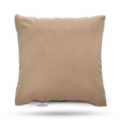 Sunbrella Heather Beige Square Outdoor Throw Pillow (2-Pack)