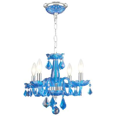 Clarion 4-Light Polished Chrome Sapphire Crystal Chandelier