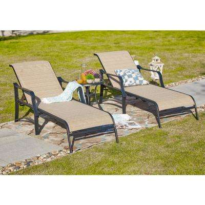 3-Piece Sling Outdoor Chaise Lounge in Beige