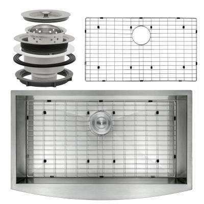 Handcrafted All-in-One Farmhouse Apron Front Stainless Steel 33 in. x 22 in. x 9 in. Single Bowl Kitchen Sink