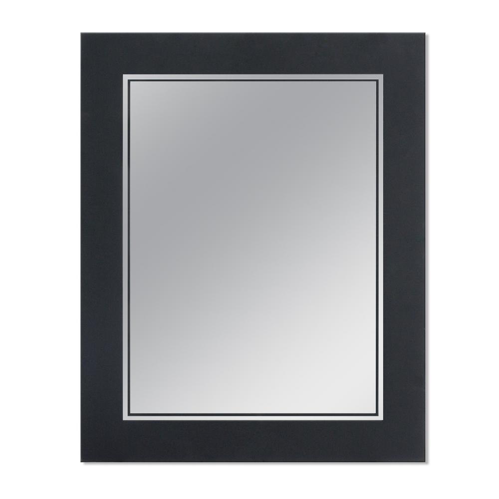 Frosted 23.5 in. x 29.5 in. Single Frameless Wall Mirror in Matte Black