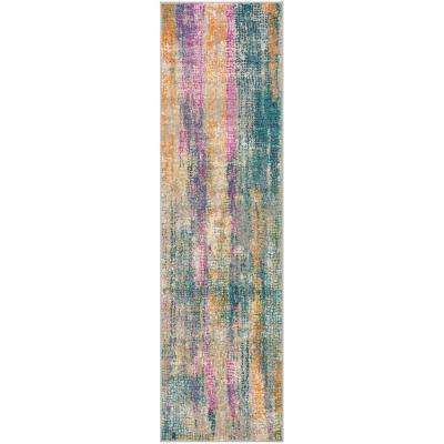 Madison Blue/Fuchsia 2 ft. 3 in. x 8 ft. Runner Rug