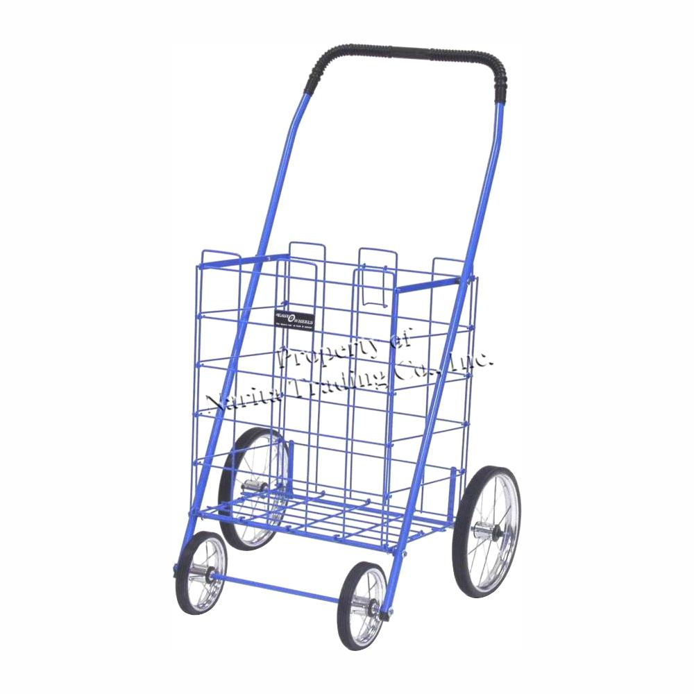 Easy Wheels Mitey Shopping Cart in Blue The Easy Wheels Mitey Shopping Cart has been the industry's premier cart with industrial strength for home use. When lying down, with the cart folded, the highest measurement is the wheels with a 9.25 in. Dia giving an incredible amount of convenience in a compact size. This particular model has genuine chrome-spoked wheels with rubber-like tread. Color: Blue.